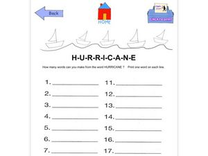 Making Word with the Letters in the Word Hurricane Worksheet