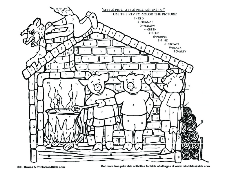 Three Little Pigs Worksheet For Coloring Pages