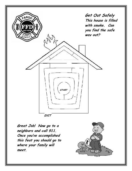 Get Out Safely: 911 Maze Worksheet for 1st - 3rd Grade