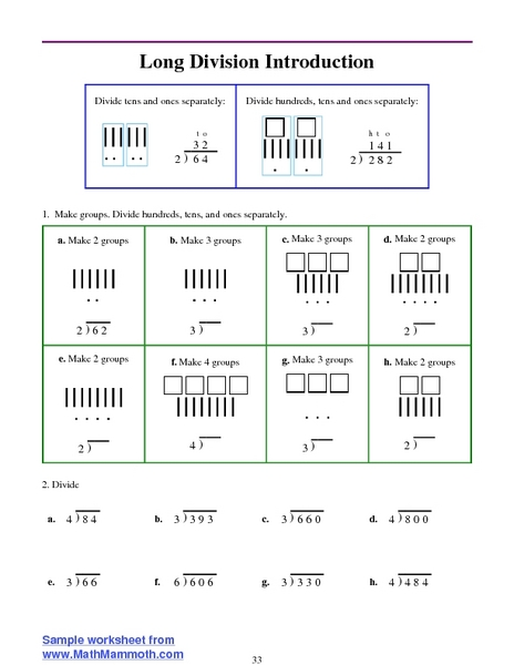 Long Division Introduction Worksheet for 3rd - 4th Grade ...