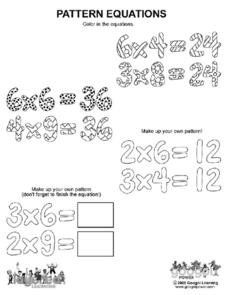 Pattern Equations Worksheet