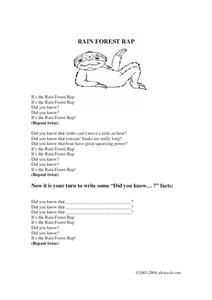 Rain Forest Rap Worksheet