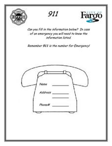 911 Is For Emergency 1st 2nd Grade Worksheet Lesson