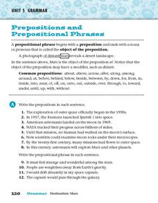 Prepositions and Prepositional Phrases Worksheet