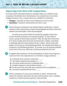 Unit 5 Focus on Writing a Research Report - Improving Your Style with Conjunctions Worksheet