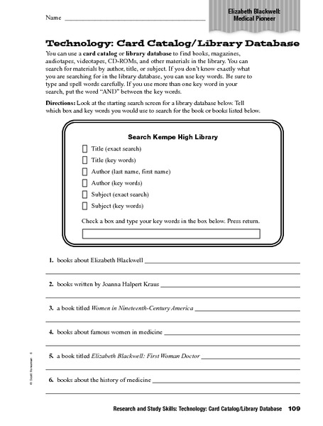 Technology: Card Catalogue/Library Database Worksheet