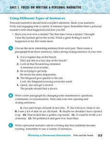 Using Different Types of Sentences Worksheet