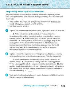 Improving Your Style Pronouns Worksheet