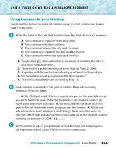 Using Commas in Your Writing Worksheet