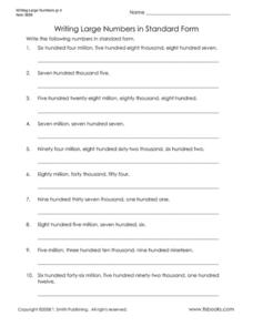 writing large numbers in standard form worksheet for 4th 5th grade lesson planet