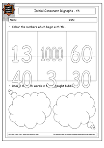 "Consonant Digraph ""th"" Worksheet"