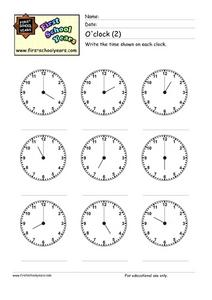 O'Clock (2) Worksheet