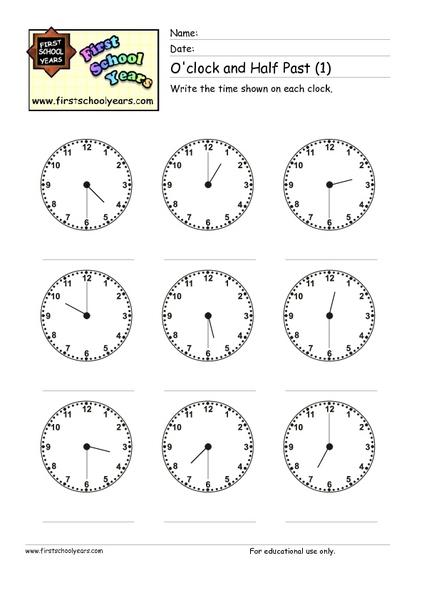 o 39 clock and half past 1 worksheet for 2nd 3rd grade lesson planet. Black Bedroom Furniture Sets. Home Design Ideas