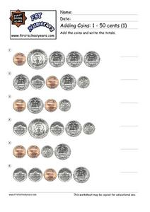 Adding Coins: 1-50 Cents Worksheet