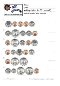 Adding Coins: 1-50 Cents (2) Worksheet