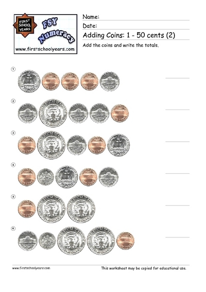 Adding Coins: 1-50 Cents (2) Worksheet for 2nd Grade ...