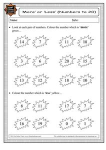 More or Less (Numbers to 20) Worksheet