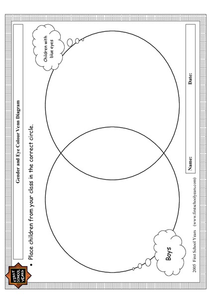 Gender and Eye Color Venn Diagram Graphic Organizer for