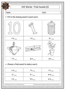 CVC Words - Final Sounds (2) Worksheet