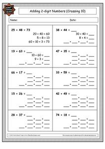 Adding 2-Digit Numbers (Crossing 10) Worksheet