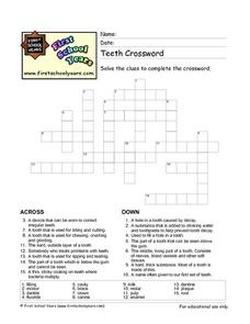 Teeth Crossword Worksheet
