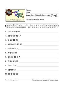 Weather Words Decoder (Easy) Worksheet