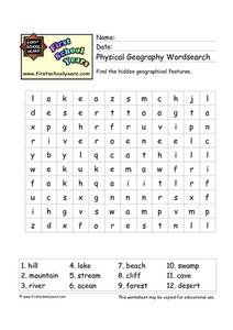 Physical Geography Wordsearch Worksheet