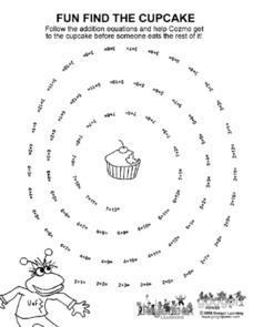 Fun Find the Cupcake - Addition Worksheet