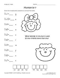 Multiply by 7 Riddle Worksheet