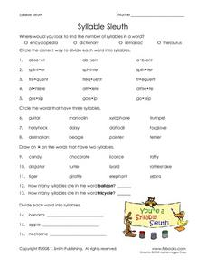 Syllable Sleuth Worksheet