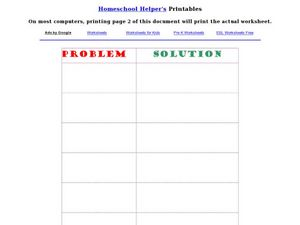 Problem and Solution Recording Sheet Worksheet