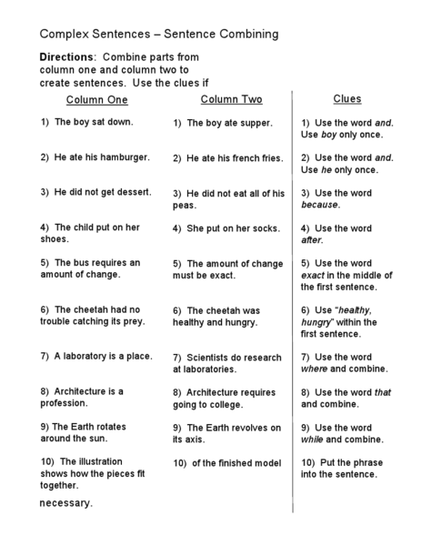 Complex Sentences Sentence Combining Worksheet For 5th 6th Grade