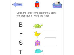 Match the Beginning Letter to the Picture Worksheet