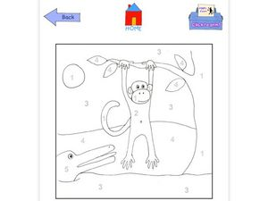 Monkey in a Tree Color by Number Page Worksheet