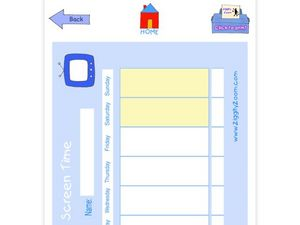 Screentime Chart Worksheet