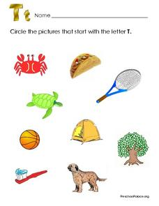 Pictures That Beginning With the Letter T Worksheet