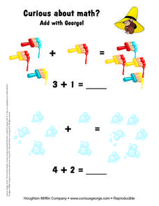 Addition With Curious George Worksheet