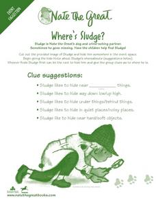 Where's Sludge? Nate the Great Clue Writing Activity Worksheet