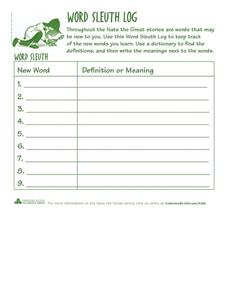 Word Sleuth Log - Nate the Great Word Recording Sheet Worksheet
