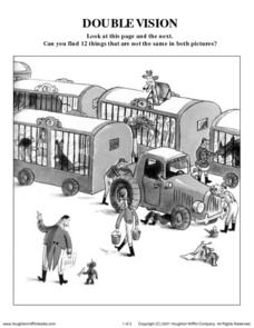 Double Vision - Comparing Curious George Pictures Worksheet