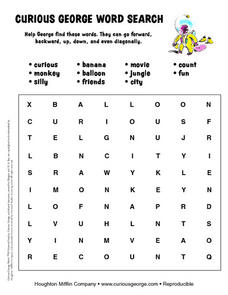 Curious George Word Search Worksheet
