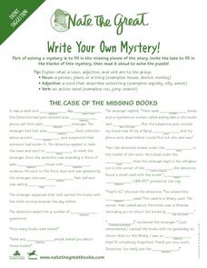 Nate the Great: Write Your Own Mystery Worksheet