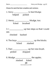 """Henry and Mudge"" pg. 20 Worksheet"