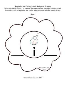 Beginning and Ending Sounds: Springtime Bouquet Worksheet