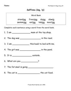 Suffixes: ing and ly Worksheet