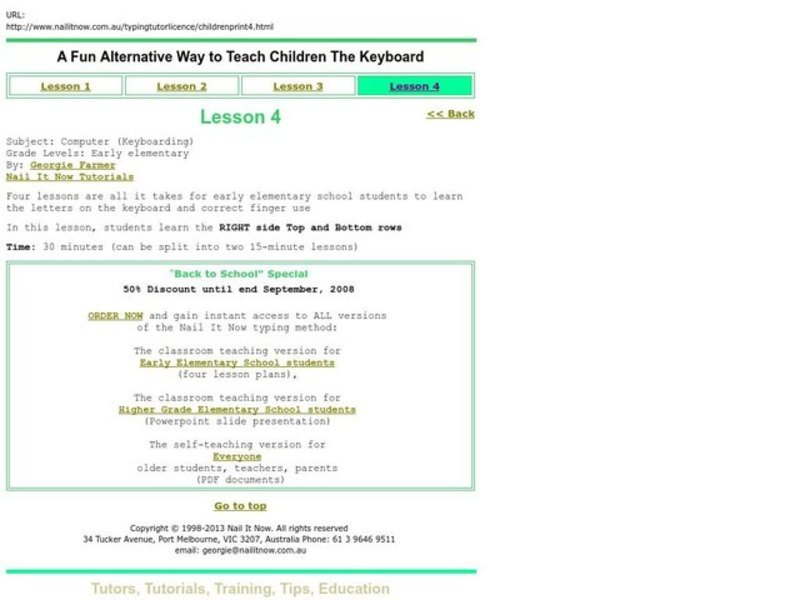 Computer (Keyboarding) Lesson Plan