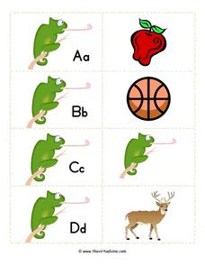 Alphabet Flash Cards: Chameleons Worksheet