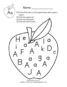 Identify Letter Aa Worksheet for Pre-K - 1st Grade | Lesson ...