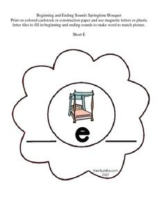 Beginning and Ending Sounds Springtime Bouquet: Short E Worksheet