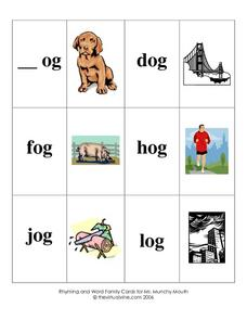 Rhyming and Word Family Cards Worksheet